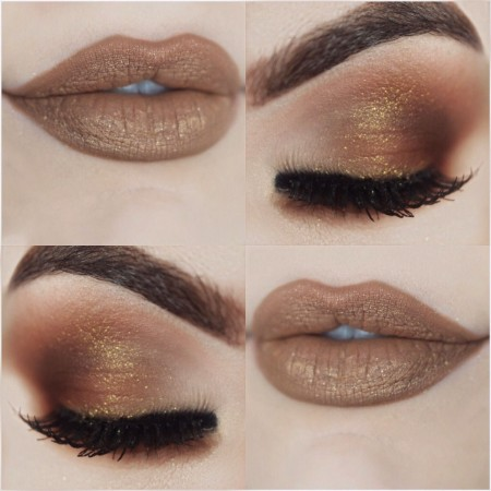 Maquiagem Marrom Com Dourado 8