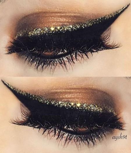 Maquiagem Marrom Com Glitter 1