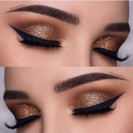 Maquiagem Marrom Com Glitter 10