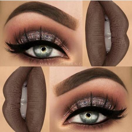 Maquiagem Marrom Com Glitter 4