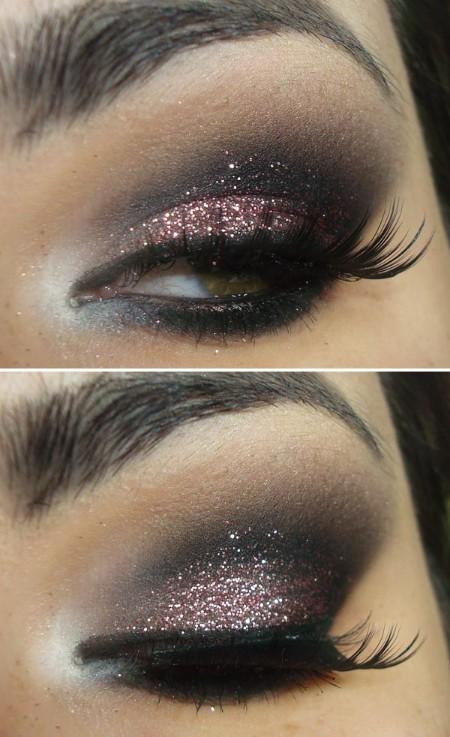 Maquiagem Marrom Com Glitter 5