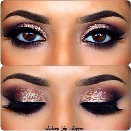 Maquiagem Marrom Com Glitter 7