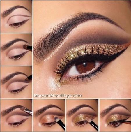 Maquiagem Marrom Com Glitter 8