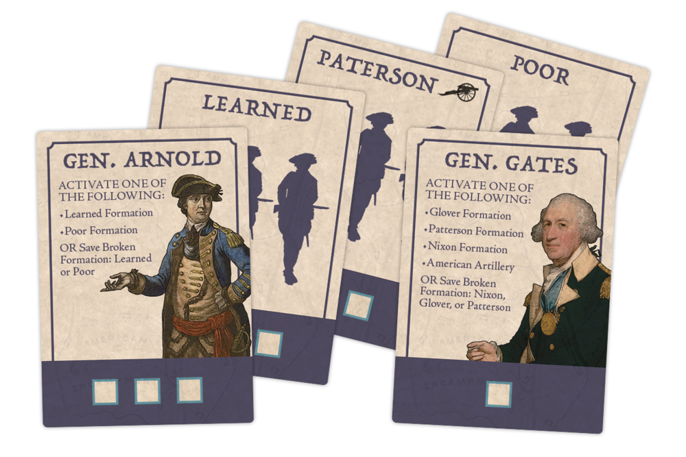Activation cards bring the named formation into battle and the formation in action adds to the momentum of the army. The values at the bottom of the card are how much army momentum is increased when that formation is activated by that formation activation card.