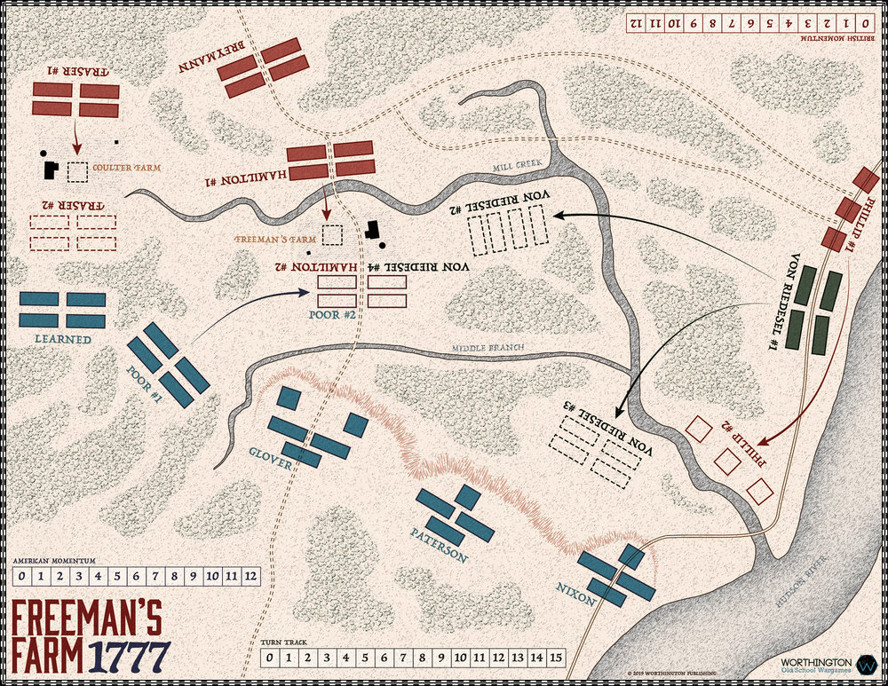 The game board map represents the Freeman's Farm Battlefield and the American and British formations that fought in the battle. The opposing formations can attack each other and move to and contest various positions on the battlefield to gain advantages.