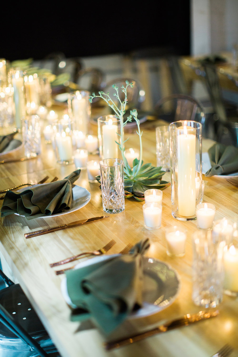 Succulents & Pillar Candles at Wedding Table