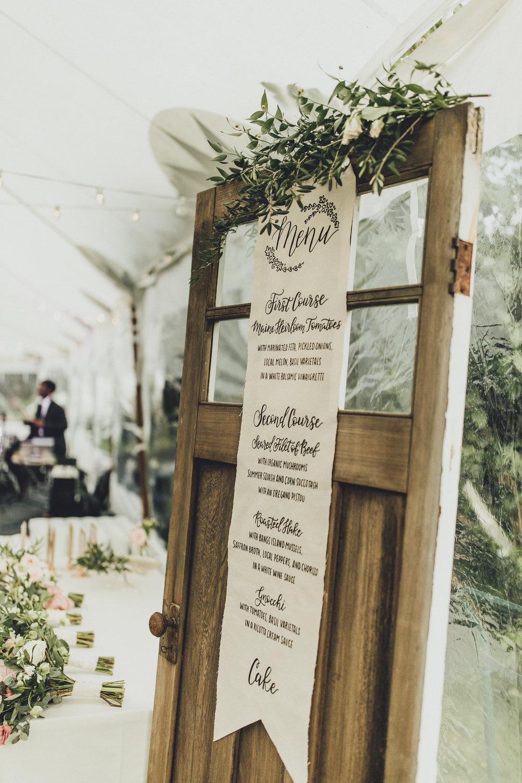 Menu for Wedding Hand-Lettered on Antique Door