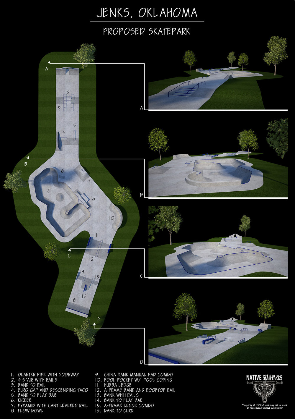Concept rendering for the new Jenks Skatepark.