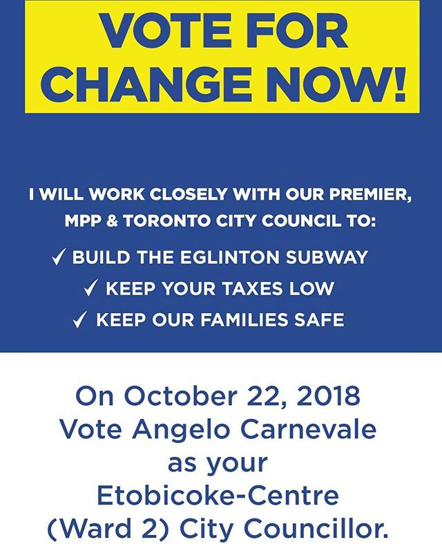 VOTE Carnevale Today! Polls are open today (Oct 22nd) from 10am-8pm. Every single vote counts & will make a difference! VoteCarnevale.com • • • • #Etobicoke #Ward2 #EtobicokeCentre #topoli #ontario #votecarnevale #community #politics #angelocarnevale #onpoli #toronto #family #topoli #TOVotes18 #torontovotes #election2018 #torontovotes2018 #topoli #toronto #vote #torontoelection #ontario #onpoli #municipalelection
