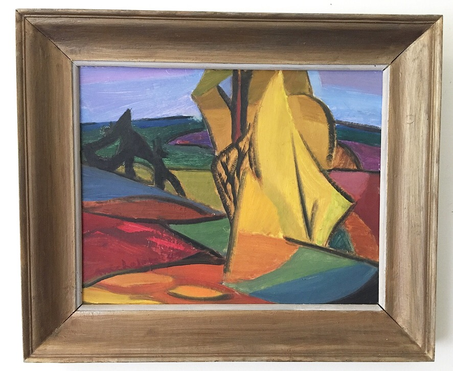 """'Micheler' - Mid-century abstract landscapeOil on boardSigned """"Micheler""""194712""""x15""""$295SOLD"""