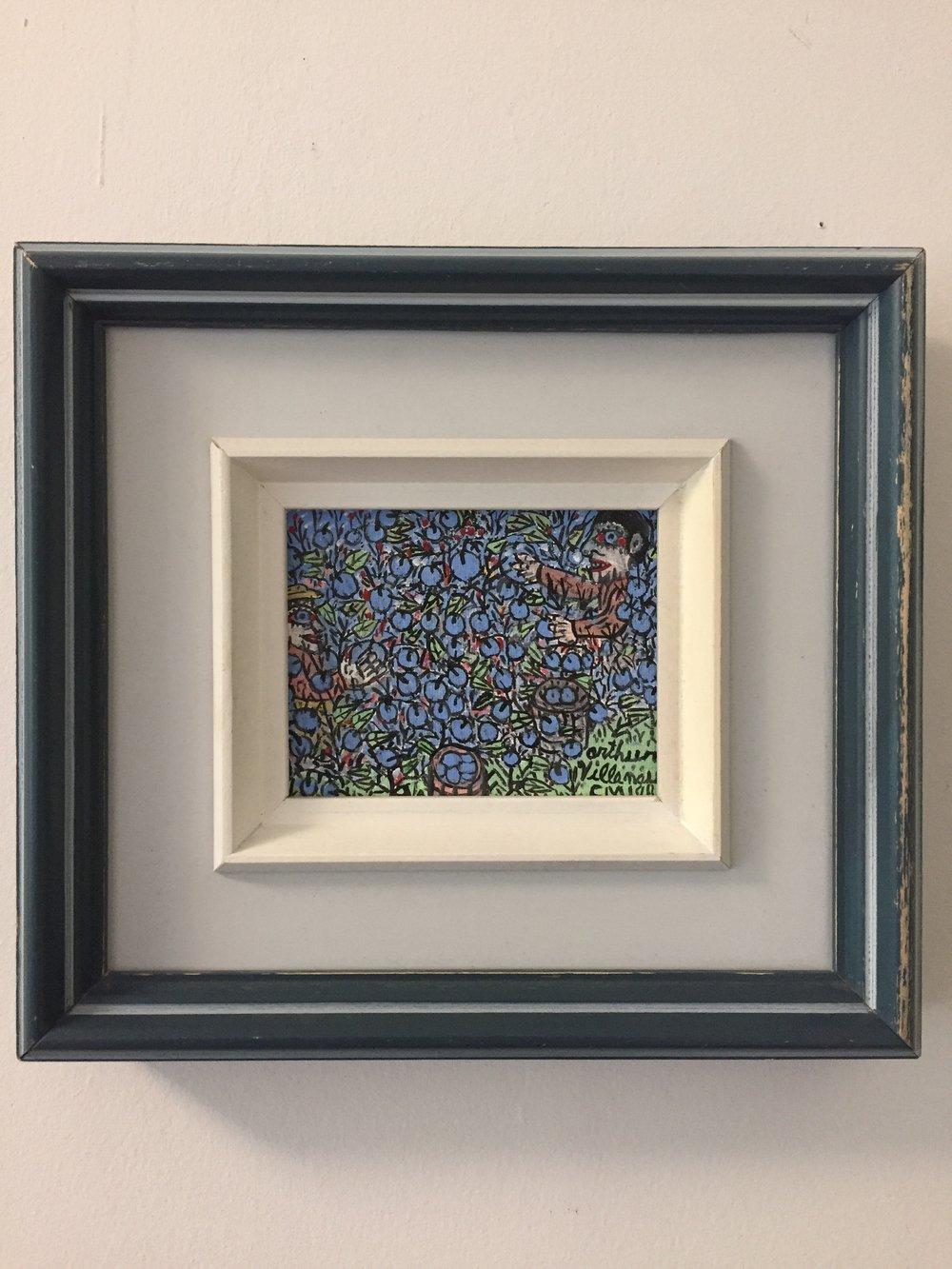 "Arthur Villeneuve(1910-1990)'Picking blueberries' - 1986Acrylic on canvas board4""x5""SOLD"