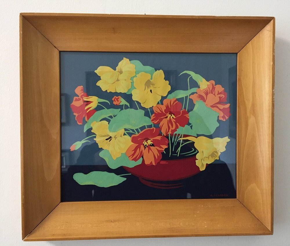"A.J. Casson(1898-1992)'Nasturtiums in Red Bowl' - Silkscreen8"" x 10""$225.00SOLD"