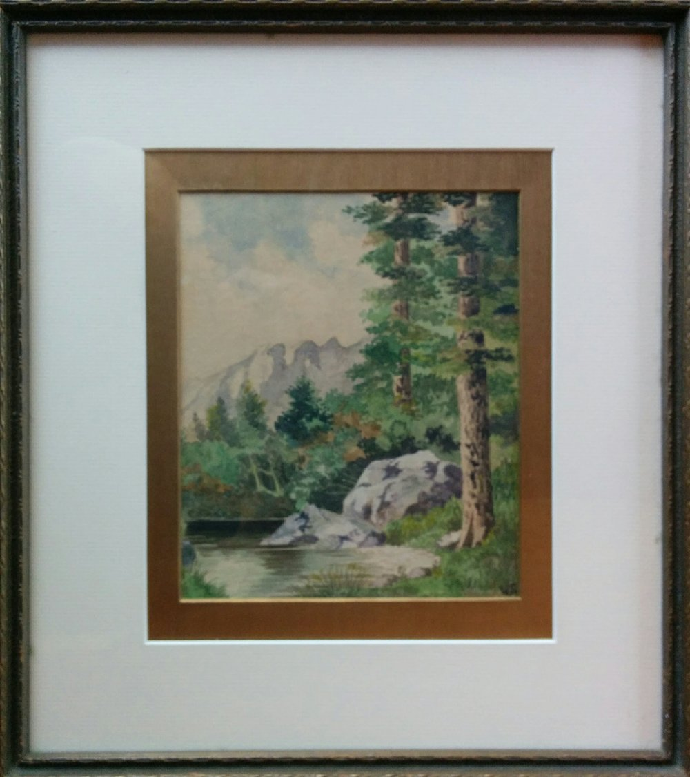 watercolour of Canadian rockies - Signed W.S.6.25