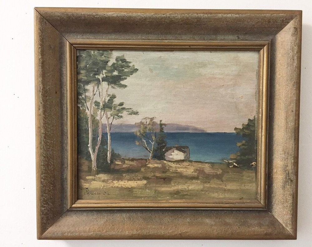 """'On The Georgian Bay'Signed C. Christie - Oil on board, 10""""x 11.75""""Surface grime and minor abrasions.$150SOLD"""
