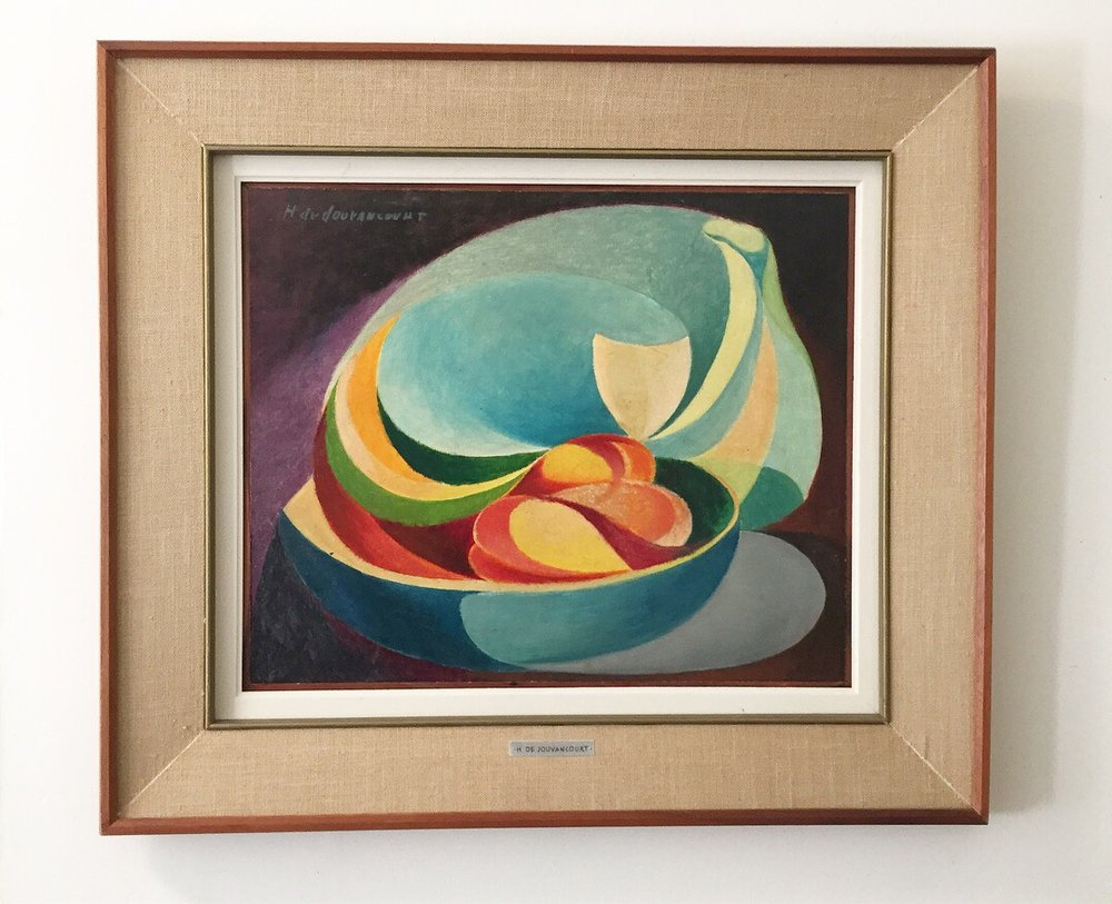 "Hugues De Jouvancourt (Canadian, 1918-1978) - Oil on board, 19""x23""Good condition with original frame.SoldHugues De Jouvancourt is primarily known as an author of Canadian artist biographies/monographs including Maurice Cullen, Cornelius Krieghoff, Marc-Aurele Fortin, Rene Richard and Clarence Gagnon but also produced a significant body of work, focusing on abstractions of figurative subjects."