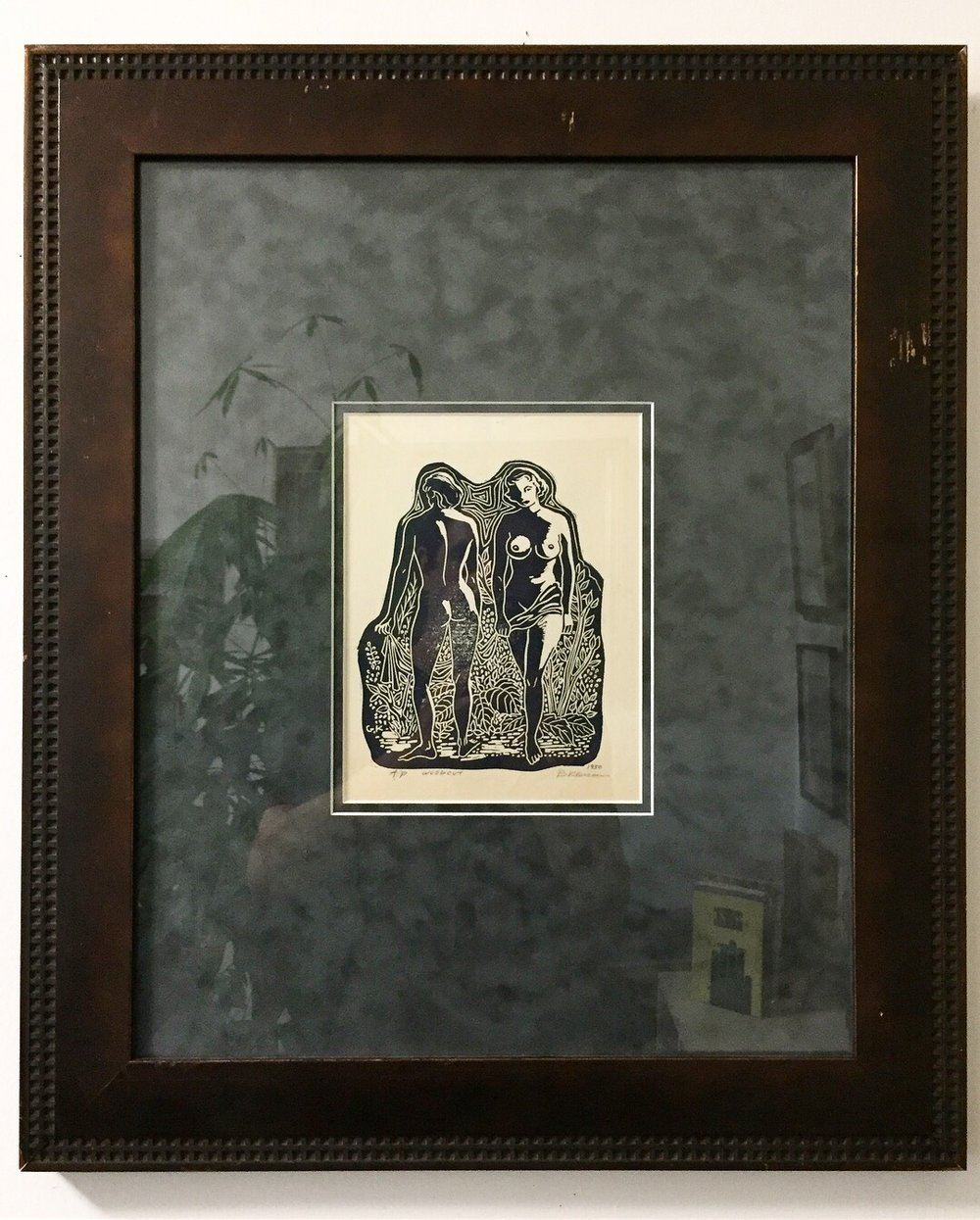 """Gijsbertus (Bert) Kloezeman - Woodcut1950a/pSigned Indistinctly6.5""""x 8.5""""plate size (20""""x24.5"""" framed) .Good condition with minor frame scuffs.$175.00SOLD"""