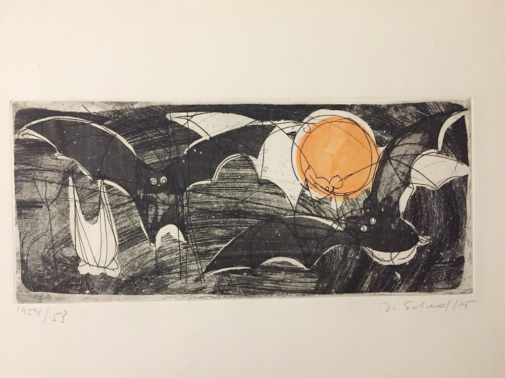 """Jacques Schedler(Swiss 1927-1989) - Four colour dry point etchings.'Bats', 'Black Cat', 'Flying Fishes', 'Aquarium'Signed,titled and dated, 1953/54 and 1956 in pencil.Each plate ((5.5""""x13.3"""") (12.5"""" X 8.5"""") (8.3"""" 12.5"""") (8.3"""" X 12.5"""").All unframed and in good condition.Some edges creased and stained with tape marks from former adhesion to matting but not affecting images whatsoever..$95 eachSOLD"""