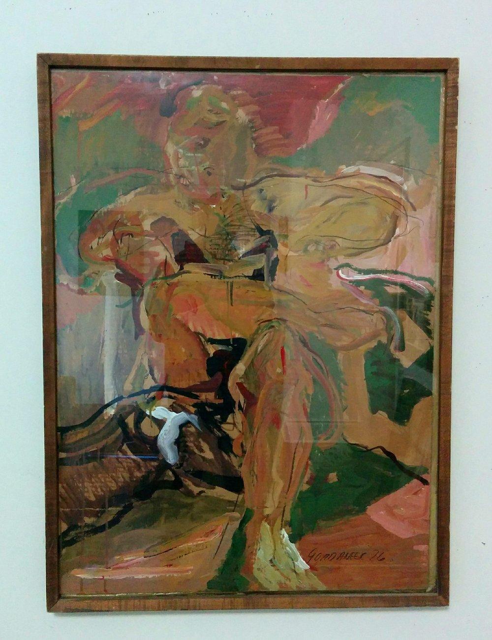 James Gordaneer(Canadian, 1933-2016)Figure on Patio - 1976Acrylic on cardboard28