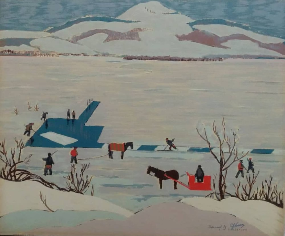 "Sarah robertson 'ice cutting' 1948 - Sampson Matthews Silkscreen21"" x 25"" Overall good condition with minor wear and yellowing on edges$225.00SOLD"