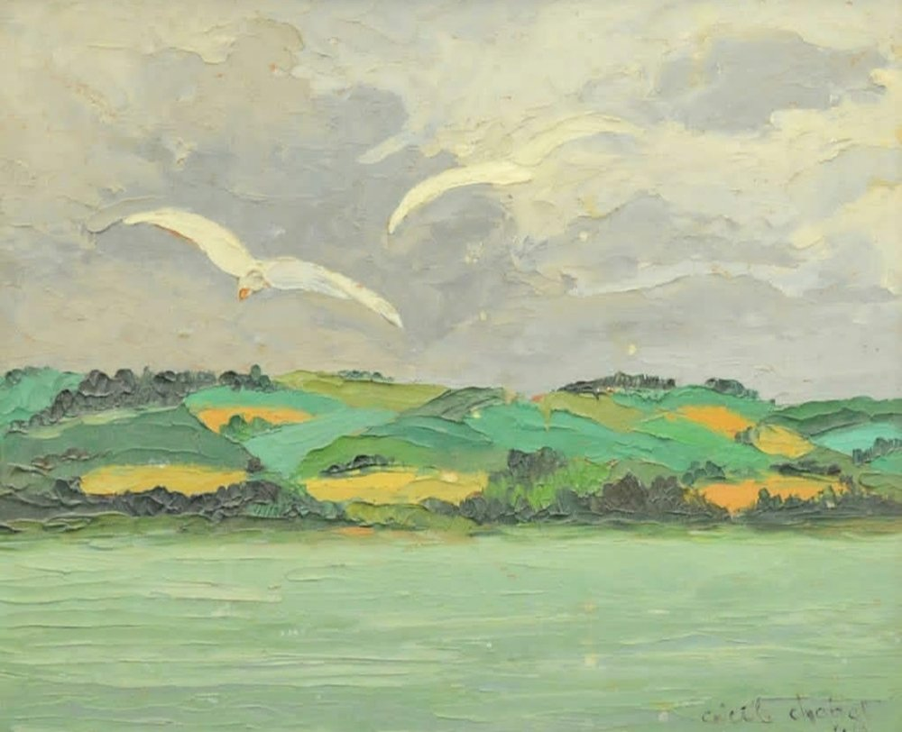 """Cecile chabot 'seagulls' 1944 - Oil on board10"""" x 12.5""""Framed$245.00SOLD"""