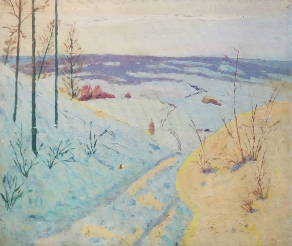 "Winter landscape - Oil on board9.5"" x 8""1930sSubtle vertical lines produced from board$75.00SOLD"