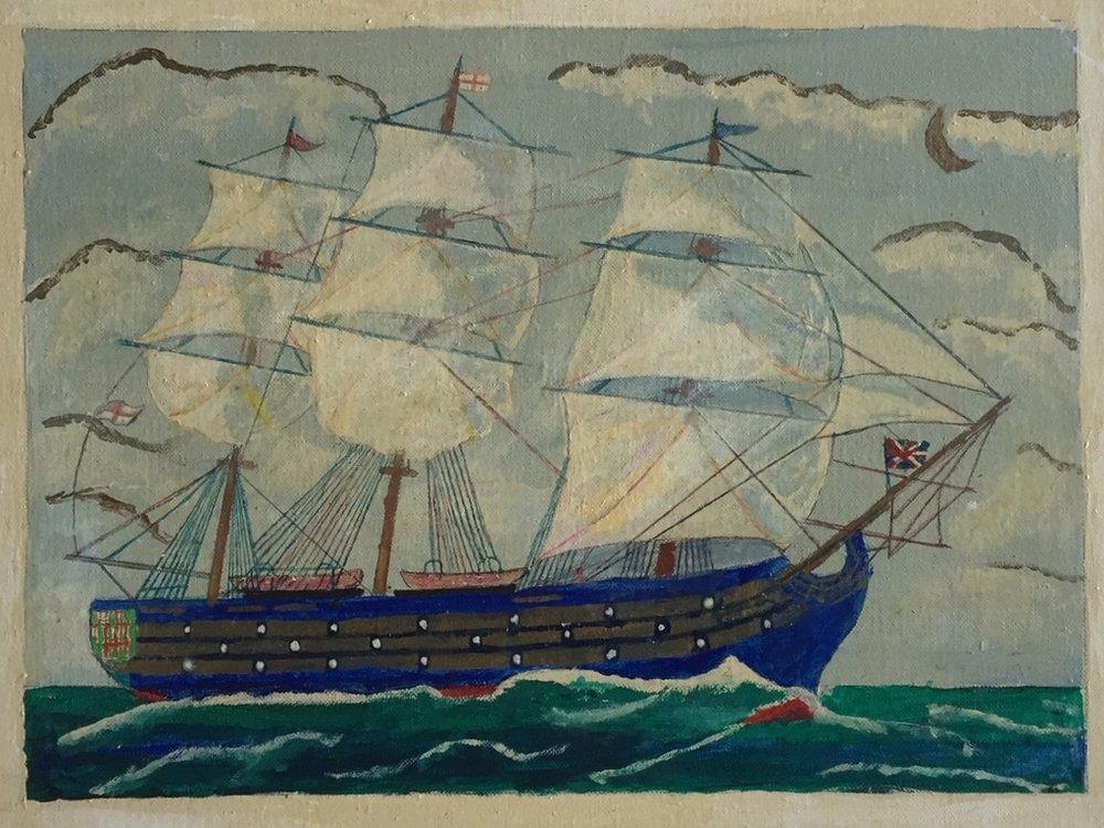 "Alex Falconer 'Lord Nelson's flag SHip' - Oil on canvas board, 196718"" x 14""Signed, titled and dated with written description by the artist on the back.Good condition with minor surface discolouration.$175.00"