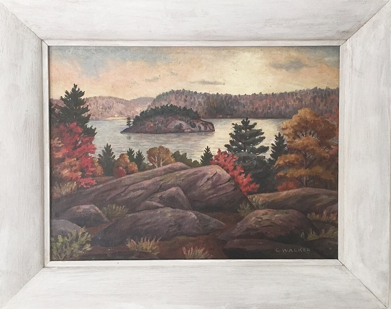 "C. Walker(20th century Canadian)'Crown Island, Mary Lake, Port Sydney, Muskoka' - Oil on board12"" x 16""$150.00SOLD"
