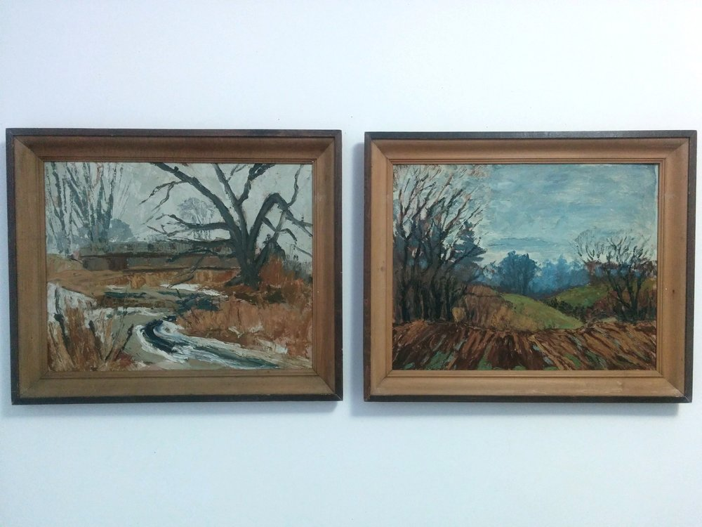 Pair of mid-century oil on boards   - Unsigned. One scene depicting a covered bridge and the other depicting a farmer's field. Each measures 15.5