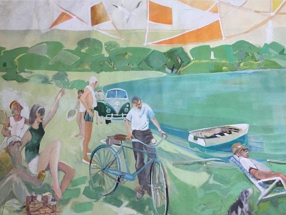 Mural-Sized Leisure scene - Large, mural sized leisure scene, oil on canvas, 64