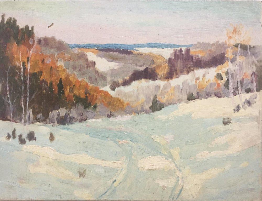 Winter Scene - Oil on board, 1930s-40s, 8.5