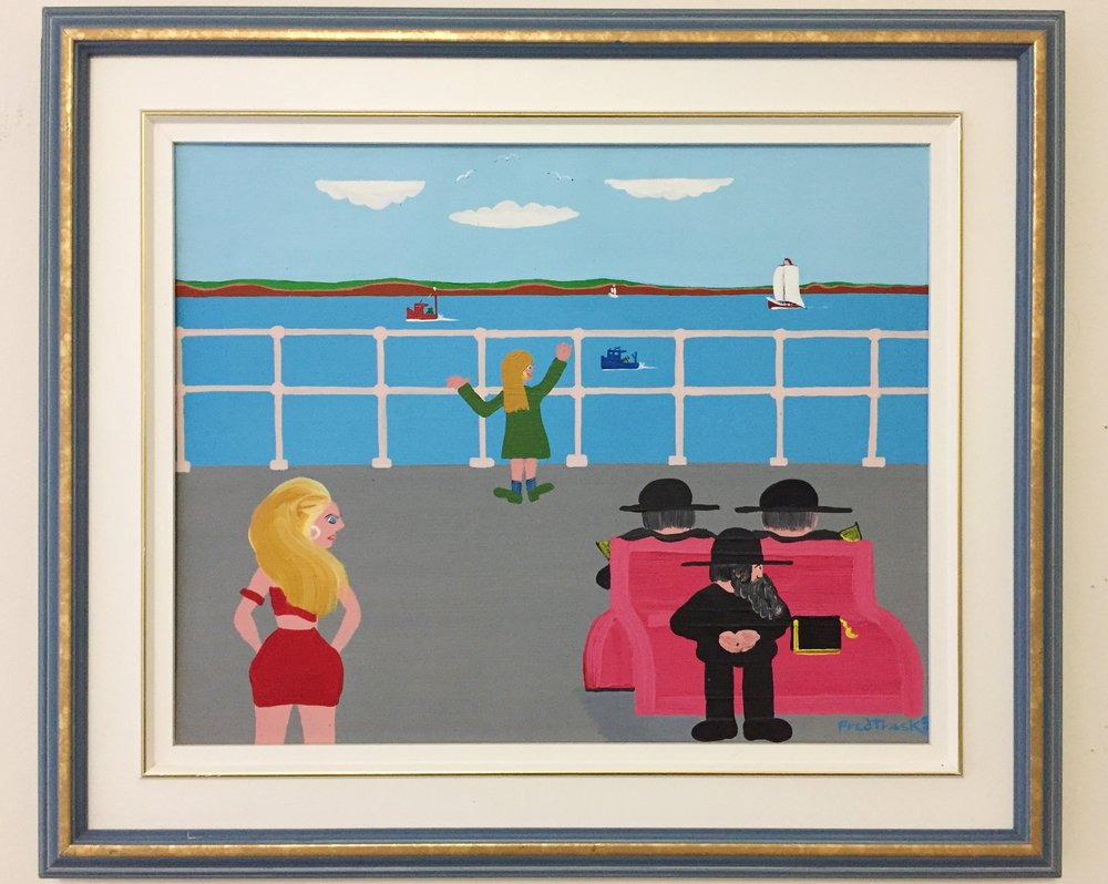 Fred trask 'crossing over' 1989 - Acrylic on canvas, signed and dated on bottom and reverse. Framed. Good condition with a few very minor scuffs on frame.$850.00SOLD