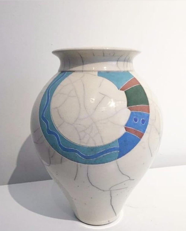 Peter Powning, Raku Fired Vase - 1981  11.75