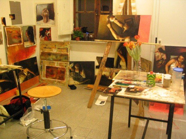 Gyun's painting studio as a senior student during Fall semester, 2005