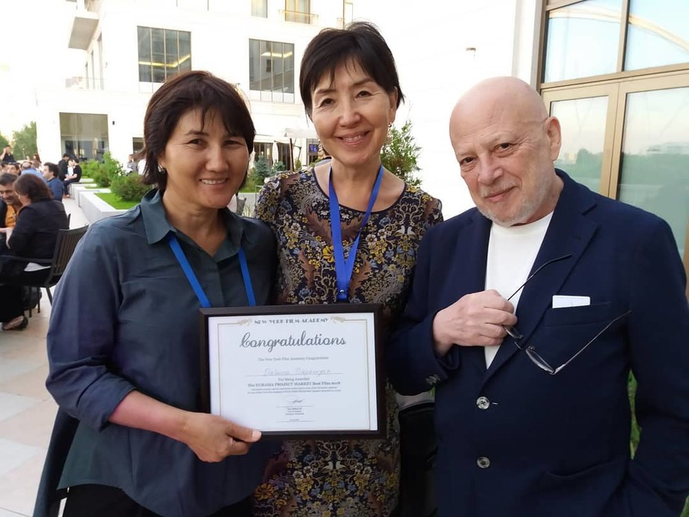 From left right: Producer, Screenwriter and Director Dalmira Tilepbergen, Producer Marina Dessiatkina, and Dalmira's teacher Pavel Finn at the Eurasia Film Market