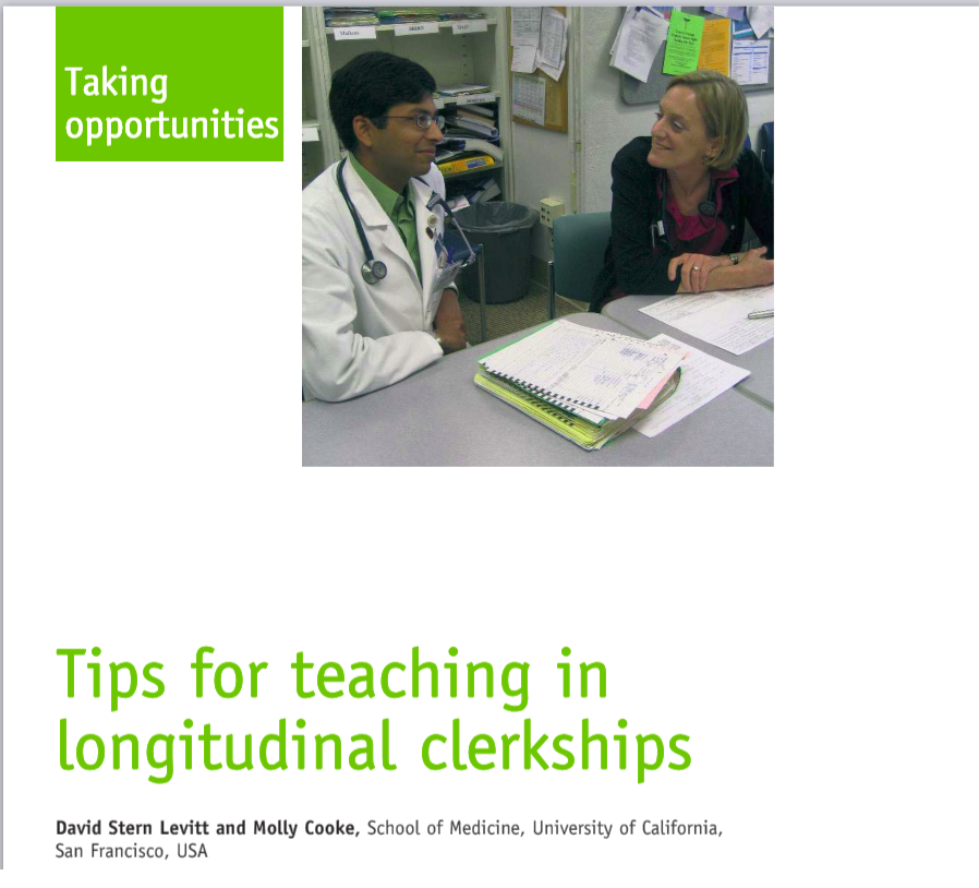 Teaching tips - A paper published by LIC alumnus David Stern Levitt and Molly Cooke highlighting important lessons in teaching and working with students in longitudinal settings