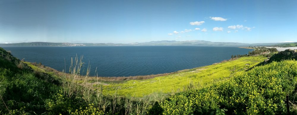 The eastern shore at the Sea of Galilee in March of 2019.