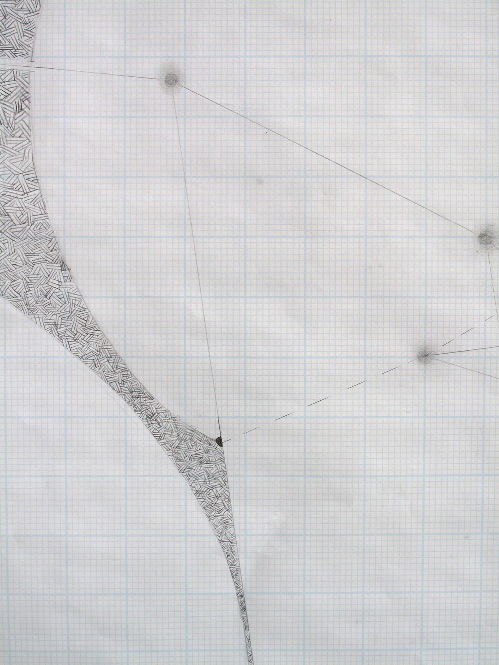 "Studies in Space, Detail    Graphite on Graph Paper; 17"" x 22"" (from series of 4)"