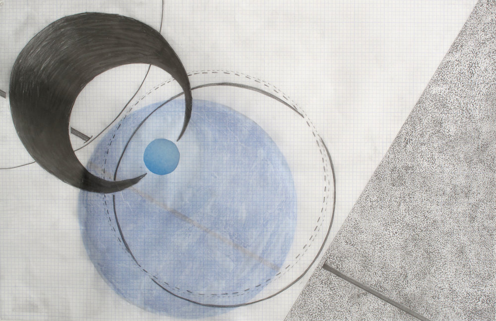 "Space Studies II  (from a series of 4)  Graphite, Collage on Graphed Vellum; 11"" x 17"" (from a series of 4)"