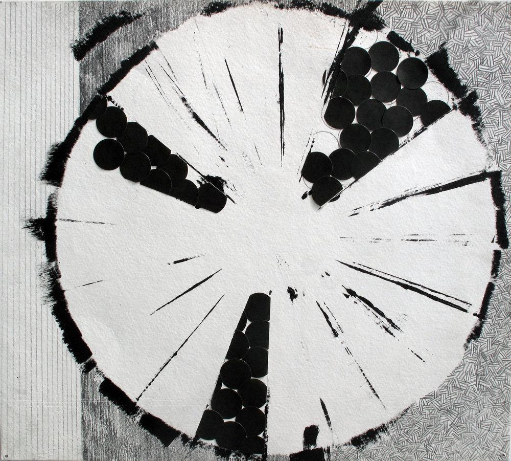 "Untitled (Encircle)   Collage, Graphite, Paint on Bristol; 11"" x 12 1/4"""