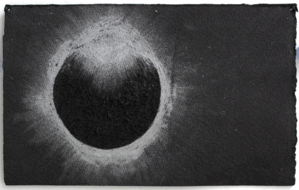 "Eclipse   Silver Pencil, Incised Black Paper; 4 1/2"" x 6 7/8"""