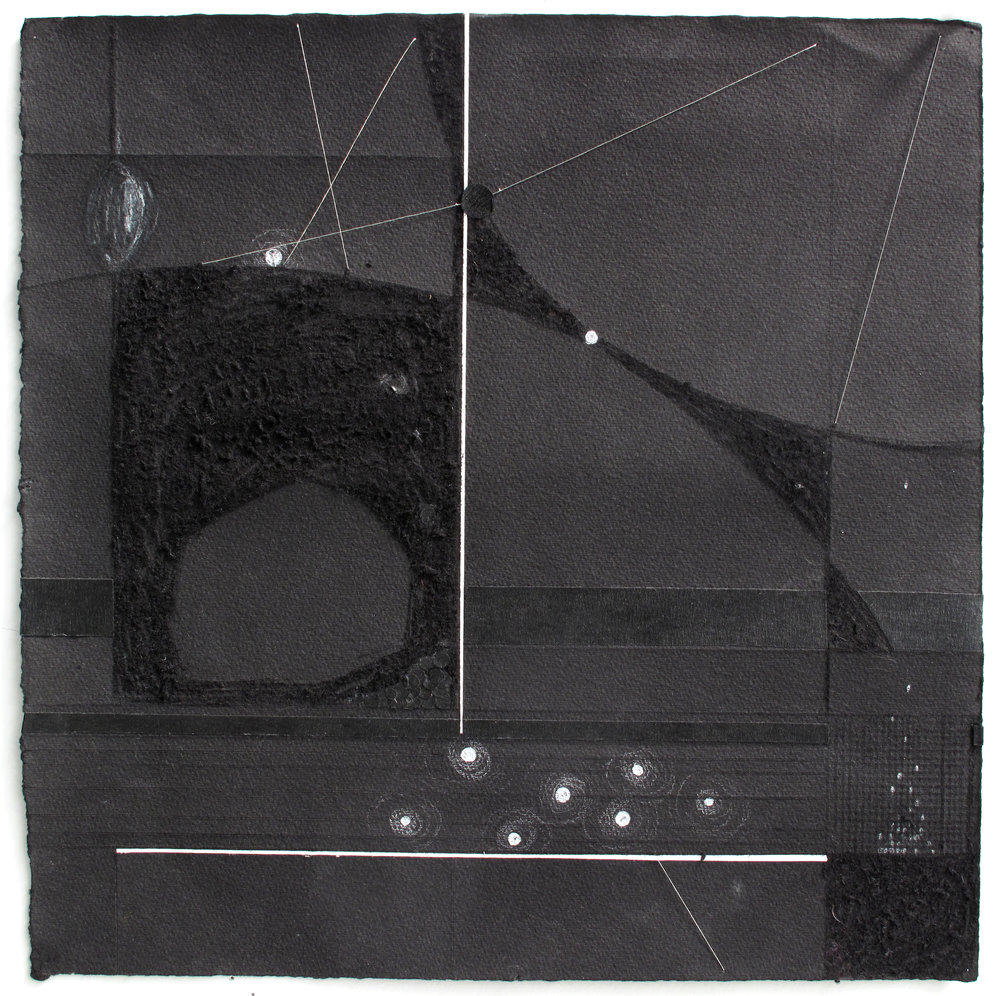 "Light & Space   White Pencil, Silver Thread, Tape, Incised Black Paper; 12"" x 12"""