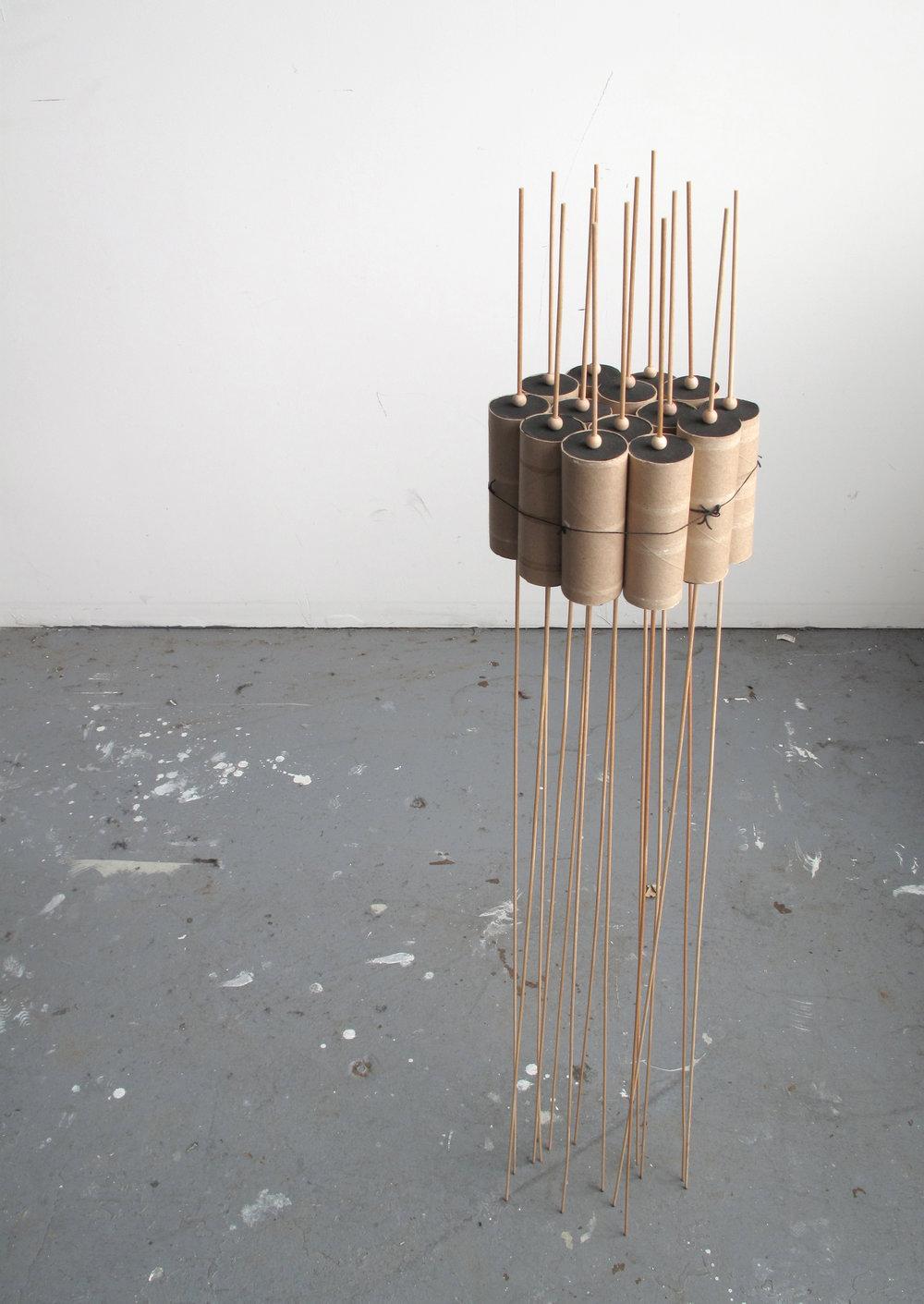 """Theoretical Mass     Mixed Media (Dowels, Wood Beads, Foam, Toilet Paper Rolls) - 48""""x18""""x18"""""""