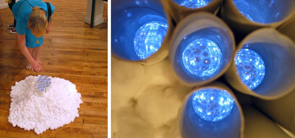 "Kaleidoscopic Possibilities     Mixed Media (Cotton Balls, Mirrors, Lights, Toilet Paper Rolls) - 33"" x 32"" x 10"""
