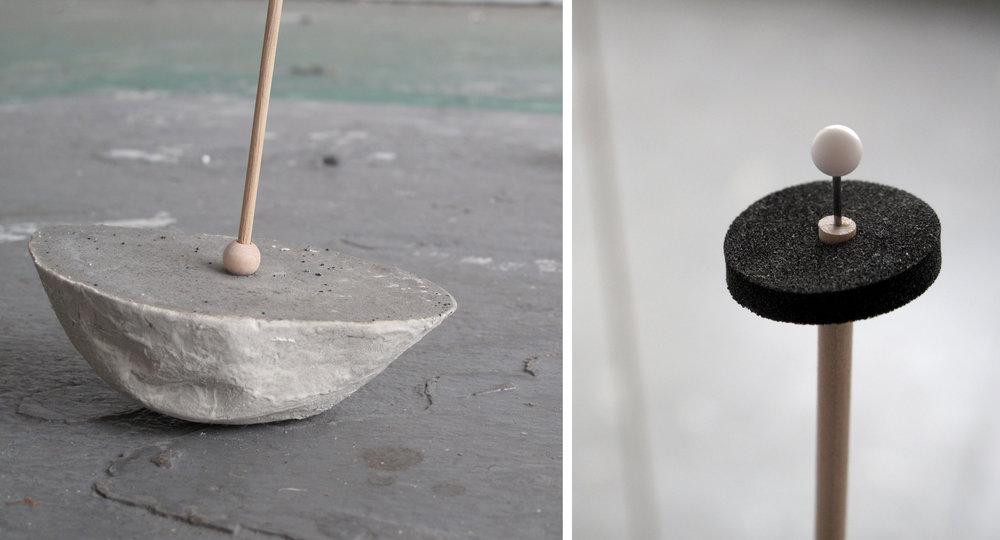"""Pod Cluster (detail)    Mixed Media (Rockite Cement, Wood Bead, Dowel, Foam, pins) – 48"""" x 39""""x 36"""""""