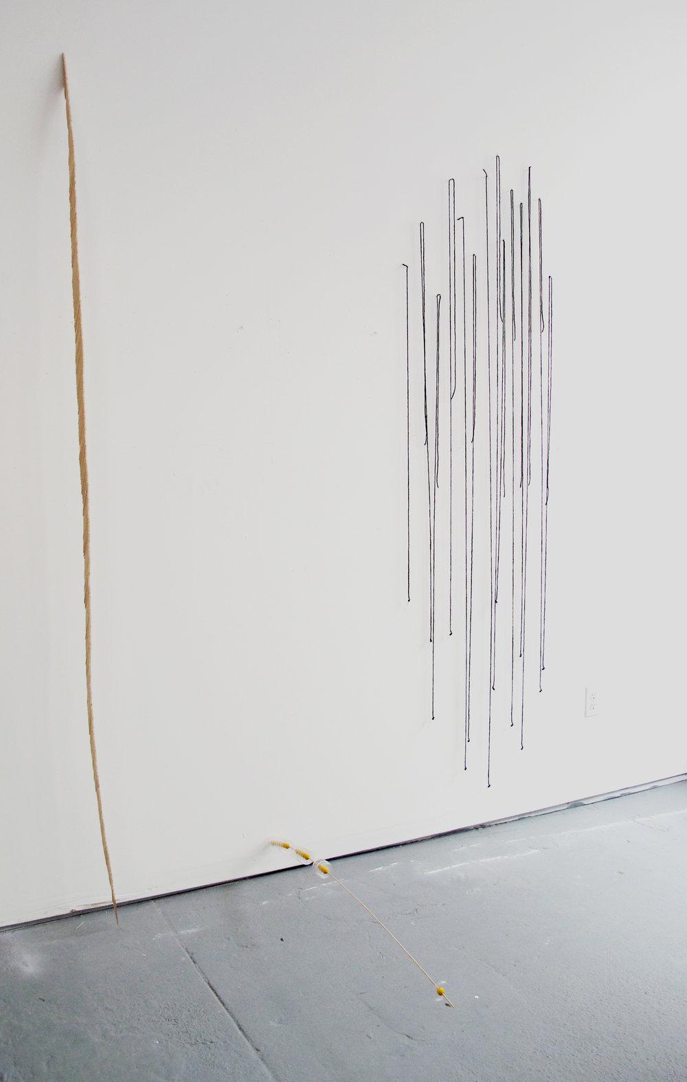 "Sliver  : Craft Picks - 92"" x 1/2"" x 4 1/2""   Gravitational Arch  : Dowel, Plastic Lids, Painted Wood Beads - 3"" x 2"" x 42""   Linear Points  : Yarn, Pins, Q-Tip Ends - 84"" x 23"" x 1"""