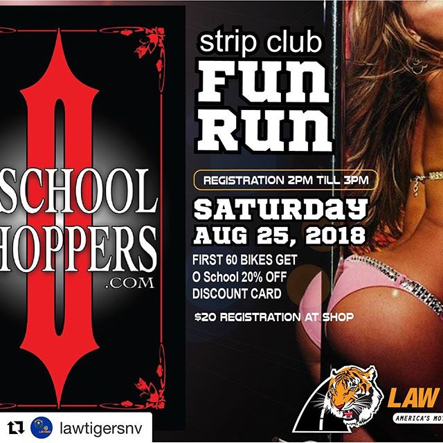 "Make sure to stop on by if your in NV!! #RideGuideMobileApp AllinclusiveMotorcycleApp #DontMeetMethereBeatMeThere!! • • •  #Repost @lawtigersnv with @get_repost ・・・ Tomorrow is the day for the @o_school_choppers_ ""Strip Club Fun Run"". Registration is from 2-3pm at O School.  First 60 people will receive a 20% off Labor Card for O School and goodie bag.  We have tons of prizes to giveaway. @tucker_powersports and @dragspecialties will be on site.... it's going to be a really fun time. #StripClub #LasVegas #MotorcycleRun #FunRun#SinCity #LawTigers #Harleys #Choppers #Cruisers #SportBikes #VegasRiders #RafflePrizes #MotorcycleShop #Custom"