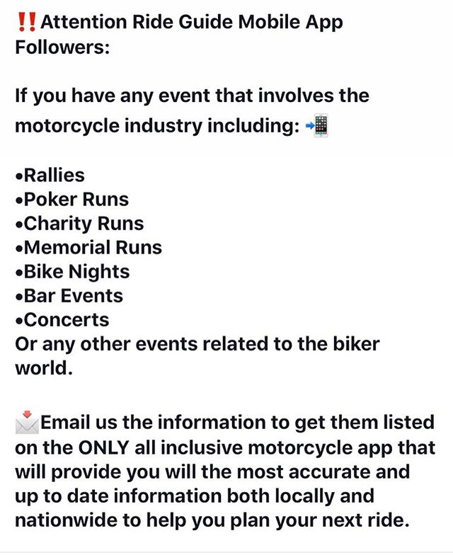 ‼️ Email us your event info 📧  Get your events/rallies/Runs/benefits and more on the Ride Guide Mobile App!  Email⬇️⬇️⬇️ Events@rideguidemobileapp.com • • • • #rideguidemobileapp #events #benefits #runs #rallies #charityevents and more!