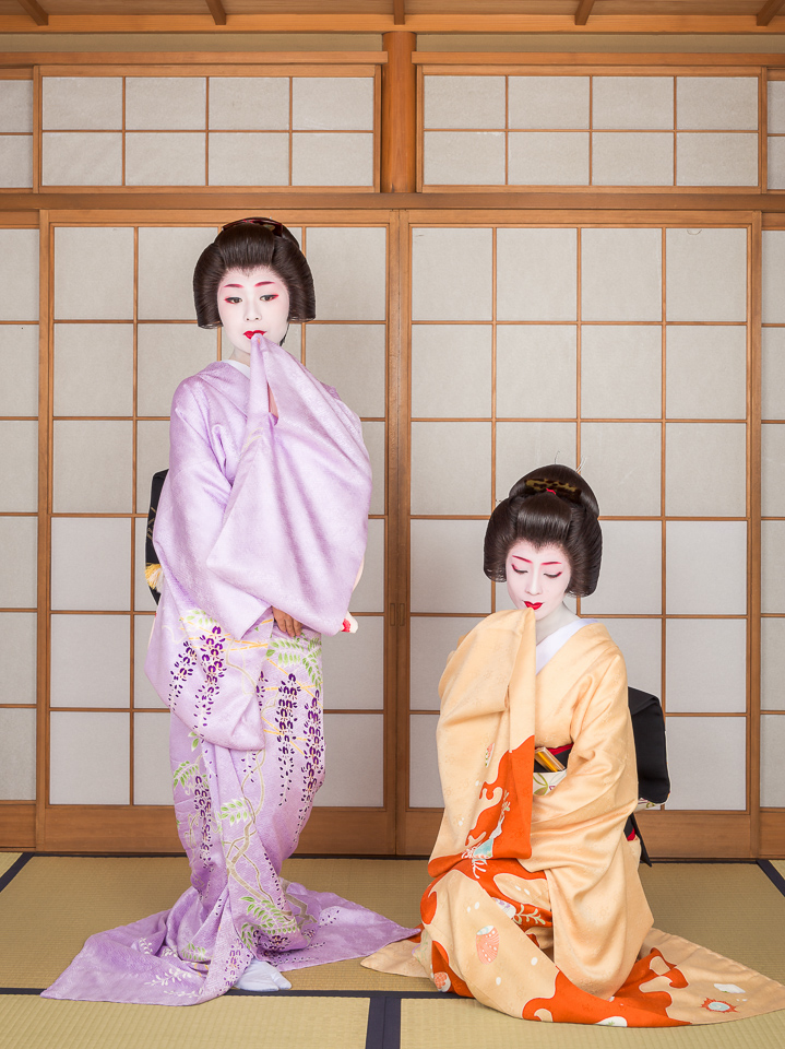 The geisha Yukako and Makiko of Gion Kobu dance at a teahouse