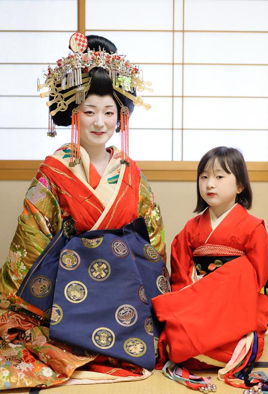 Kikugawa Tayu and Her Kamura after a performance