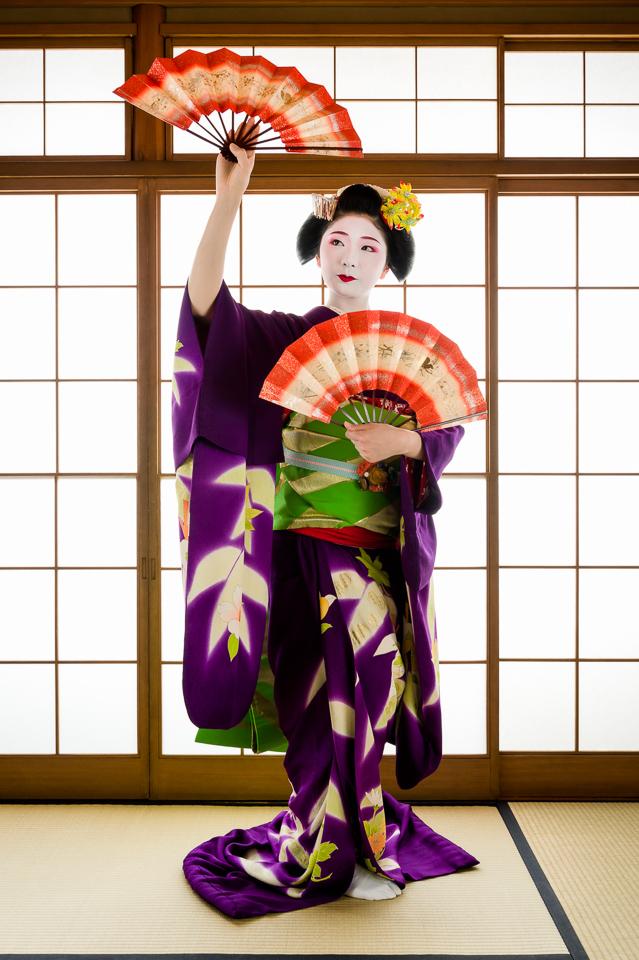 Maiko Tanewaka of Miyagawa-cho performing the dance Momiji no Hashi